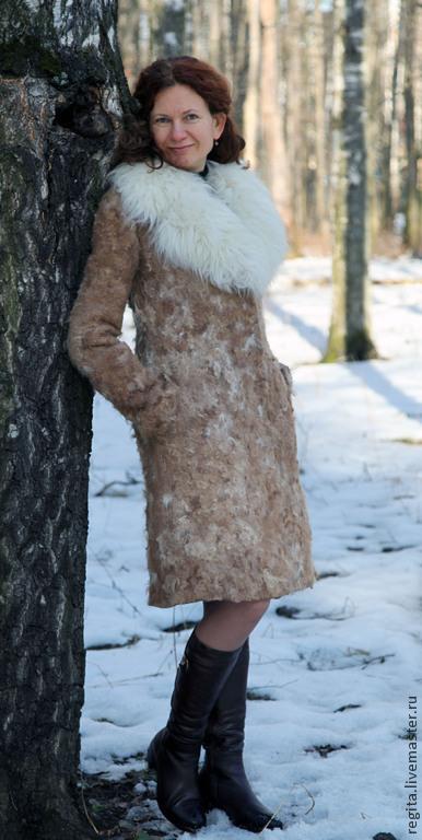 Верхняя одежда ручной работы. Ярмарка Мастеров - ручная работа. Купить Валяное пальто-дублёнка. Handmade. Бежевый, пальто женское