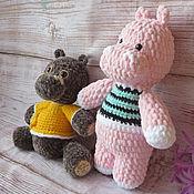 Мягкие игрушки ручной работы. Ярмарка Мастеров - ручная работа Мягкая игрушка № 12 ,:Бегемотик розовый амигуруми. Handmade.