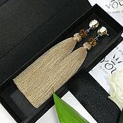 Украшения handmade. Livemaster - original item Golden beige tassel earrings with Swarovski crystals. Handmade.