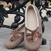 """Обувь ручной работы. Ярмарка Мастеров - ручная работа """"Glam"""" тапочки-балетки валяные. Handmade."""
