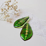Украшения handmade. Livemaster - original item Transparent Earrings Green Red Leaves Tropics Leaves Boho Resin. Handmade.