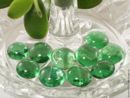 Для украшений ручной работы. Ярмарка Мастеров - ручная работа. Купить Стеклышки декоративные Зеленые 10-14мм (набор 10шт). Handmade.