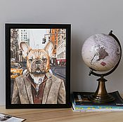 Картины и панно handmade. Livemaster - original item French bulldog from new York. Poster. Handmade.