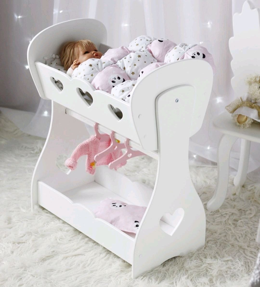 Crib cradle for dolls with dressing room. Doll furniture wooden, Doll furniture, Ivanovo,  Фото №1