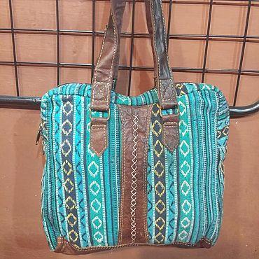 Bags and accessories handmade. Livemaster - original item Blue cotton ethnic bag. Handmade.