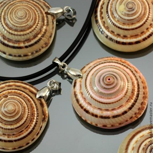 Подвески из натуральных ракушек с латунным бейлом под серебро для крепления на шнурок или ленту для использования в сборке украшений или как самостоятельное украшение