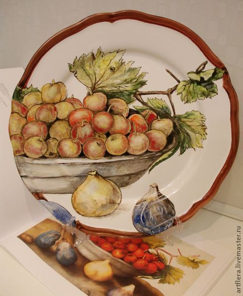 The painted porcelain.Painted porcelain plates. ' Cherries and figs', Plates, Kazan,  Фото №1