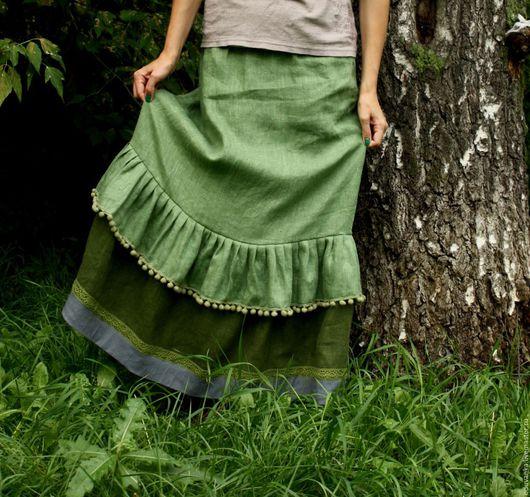 """Юбки ручной работы. Ярмарка Мастеров - ручная работа. Купить Льняная нижняя юбка """"Полянка"""". Handmade. Юбка, Оригинальная одежда"""