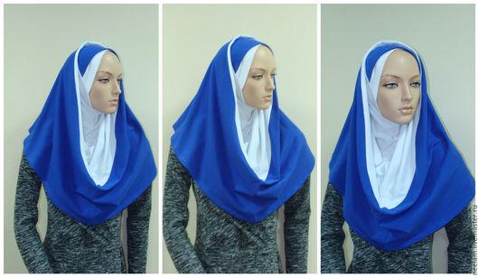 Этническая одежда ручной работы. Ярмарка Мастеров - ручная работа. Купить Хиджаб Амирка-хомут. Handmade. Тёмно-синий, турецкий