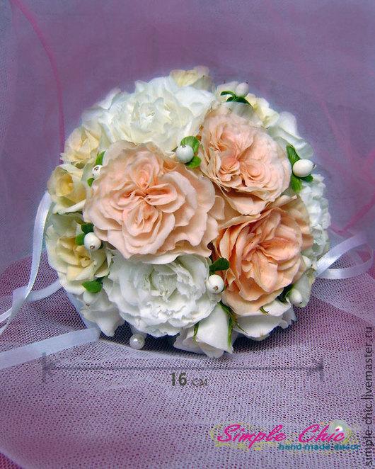 """Свадебные цветы ручной работы. Ярмарка Мастеров - ручная работа. Купить Свадебный букет """"Мирьям"""". Handmade. Бежевый, нежные цветы"""