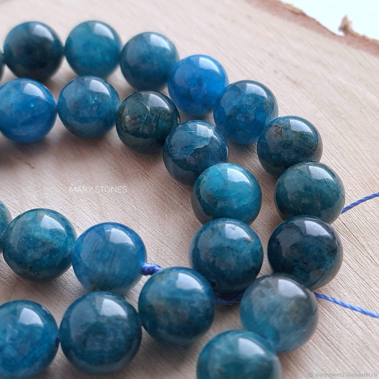 Апатит синий натуральный шикарный! бусины 8 и 10 мм, Бусины, Самара,  Фото №1