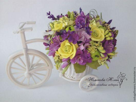 Интерьерные композиции ручной работы. Ярмарка Мастеров - ручная работа. Купить Цветочная композиция в Велосипеде в желто-сиреневых тонах. Handmade.