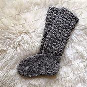 Аксессуары handmade. Livemaster - original item Socks knitted of natural sheep wool (grey). Handmade.