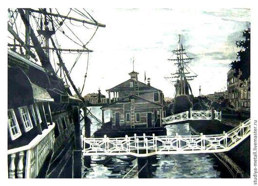 """Пейзаж ручной работы. Ярмарка Мастеров - ручная работа. Купить картина """"На набережной"""" (графика, рисунок). Handmade. Корабль"""