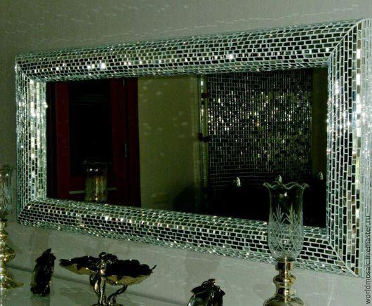 Зеркала ручной работы. Ярмарка Мастеров - ручная работа. Купить зеркало в мозаичной раме, прямоугольное. Handmade. Серебряный, прямоугольный