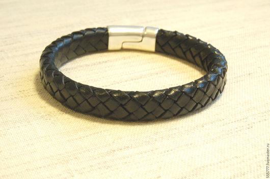 Кожаный браслет. Плетеный кожаный браслет. Ярмарка мастеров. Браслет унисекс.
