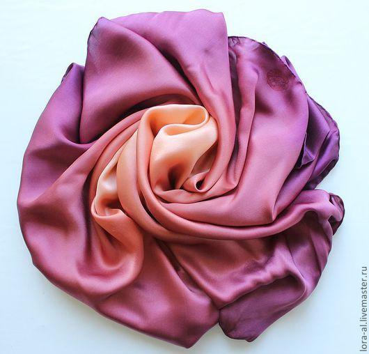 Шали, палантины ручной работы. Ярмарка Мастеров - ручная работа. Купить Атласный   платок   Ягодный соблазн. Handmade. Бордовый, розовый