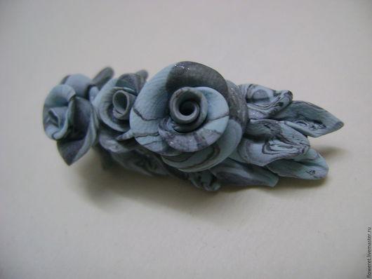 Броши ручной работы. Ярмарка Мастеров - ручная работа. Купить Мраморная роза. Handmade. Бирюзовый, брошь ручной работы