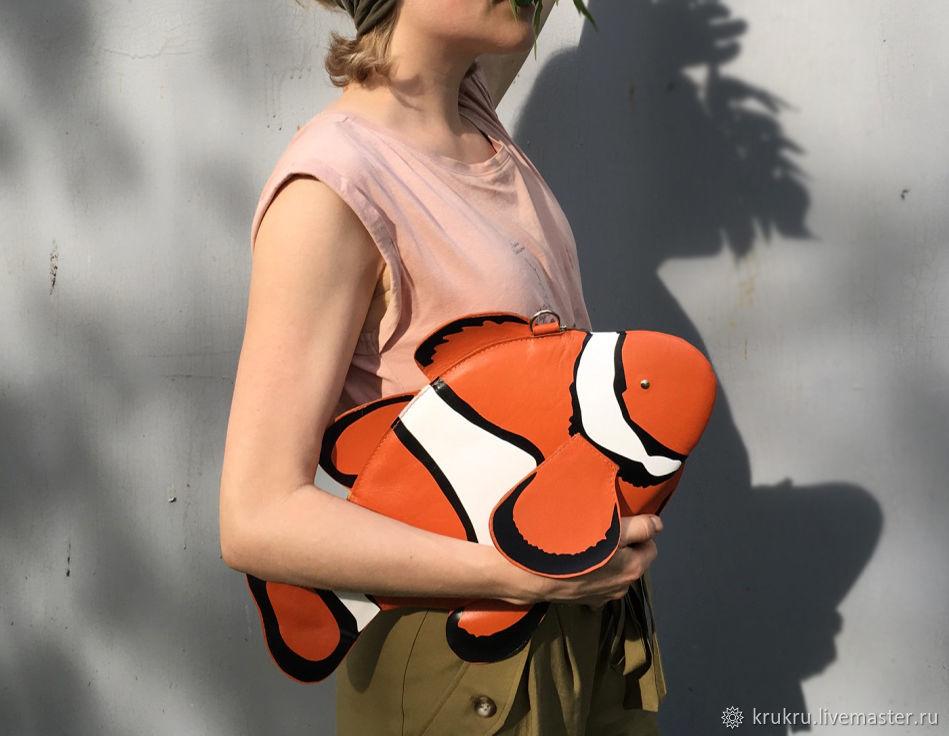 Рыбка Клоун сумка из кожи или экокожи, Классическая сумка, Москва,  Фото №1