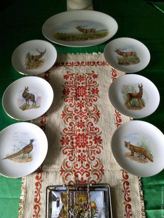 Винтажная посуда. Ярмарка Мастеров - ручная работа. Купить Баварский сервиз для дичи Оригинал на 6 п. Логотип. Handmade.