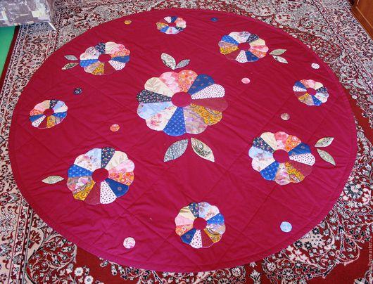 Текстиль, ковры ручной работы. Ярмарка Мастеров - ручная работа. Купить Покрывало с цветами. Handmade. Бордовый, цветочный принт, синтепон