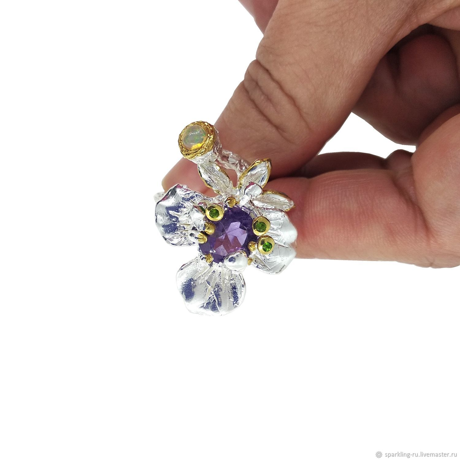 Large silver ring with amethyst and opal Flower, p. .17,5,, Rings, Moscow,  Фото №1