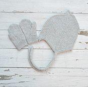 Работы для детей, handmade. Livemaster - original item Knit cap and mittens for boy 48-50 cm. Handmade.