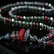 Бусы ручной работы. Ярмарка Мастеров - ручная работа Сотуар Зеленая кисть, богемный стиль, стекло с эффектом металла. Handmade.