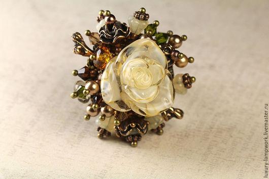 Кольца ручной работы. Ярмарка Мастеров - ручная работа. Купить Коктейльное кольцо букет  в винтажном стиле Роза Айвори. Handmade.