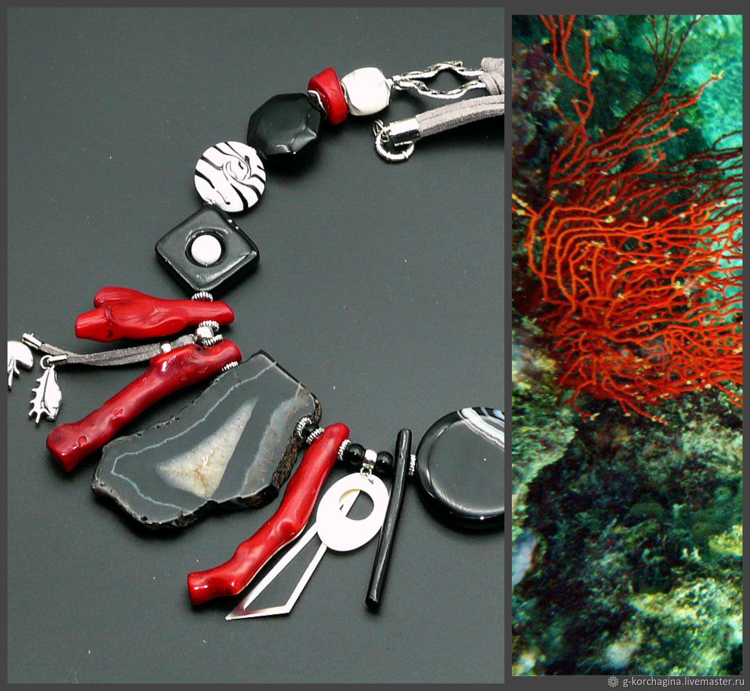 Necklace with coral and black and white wild agate ' Night ocean', Necklace, Voronezh,  Фото №1