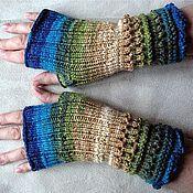 Аксессуары ручной работы. Ярмарка Мастеров - ручная работа Митенки,перчатки без пальцев (голубой,бежевый,коричневый). Handmade.