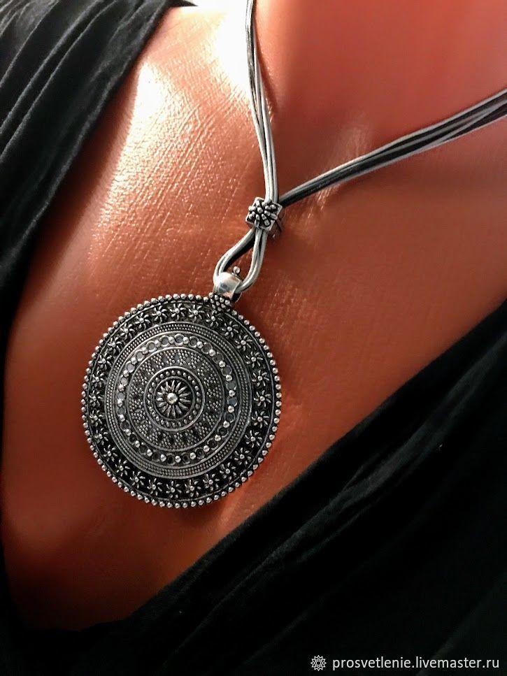 Boho jewelry. Large pendant in the style boho. Decoration on the neck, Pendant, Voronezh,  Фото №1