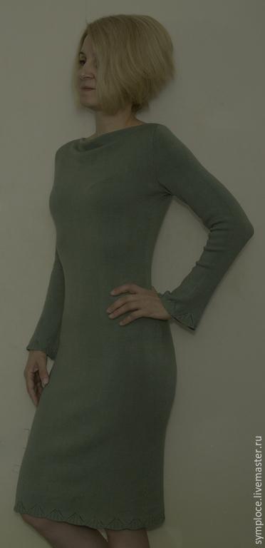 Платья ручной работы. Ярмарка Мастеров - ручная работа. Купить Платье вязаное из вискозы. Handmade. Оливковый, расширенный рукав