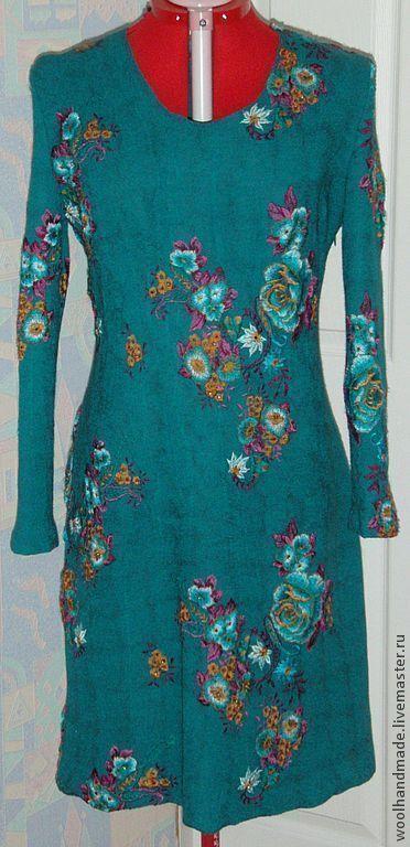 Платья ручной работы. Ярмарка Мастеров - ручная работа. Купить Платье из шерсти Малахит. Handmade. Зеленый, платье из шерсти