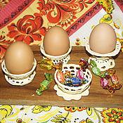 """Посуда ручной работы. Ярмарка Мастеров - ручная работа Подставки для яиц в технике """"вязаный фарфор"""" от Ирины Шавер.. Handmade."""
