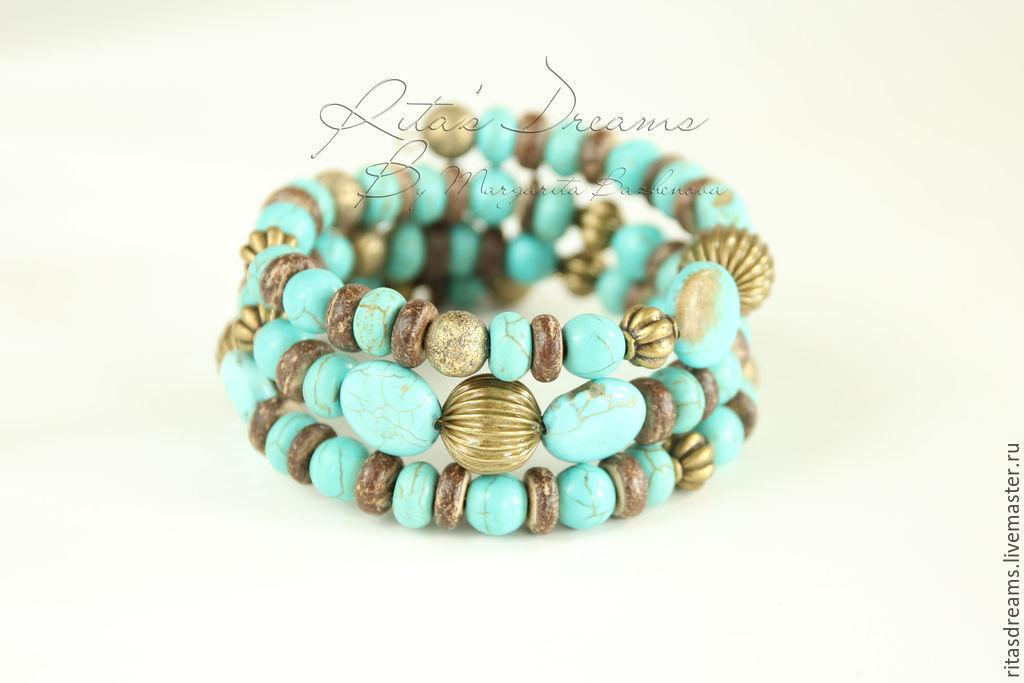 Multi-row bracelet Blue turquoise turquoise three-row in memory summer, Bead bracelet, Orel,  Фото №1