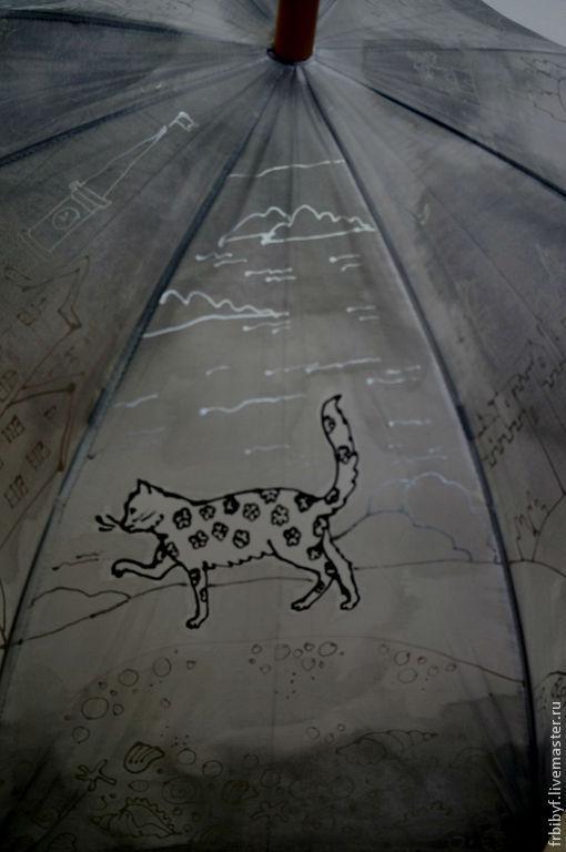 """Зонты ручной работы. Ярмарка Мастеров - ручная работа. Купить Зонт с авторской  росписью """"Кошки"""". Handmade. Серый"""