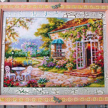 """Картины и панно ручной работы. Ярмарка Мастеров - ручная работа """"Цветущий сад,уютный дом.""""Вышивка крестиком,картины и панно. Handmade."""