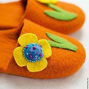 """Обувь ручной работы. Ярмарка Мастеров - ручная работа Тапки детские """"Оранжевое настроение"""". Handmade."""
