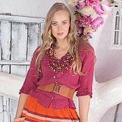 Одежда ручной работы. Ярмарка Мастеров - ручная работа юбка оранжевая с кружевом. Handmade.