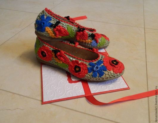 Обувь ручной работы. Ярмарка Мастеров - ручная работа. Купить балетки на кожаной основе.верх связан в технике ирландского кружева.. Handmade.