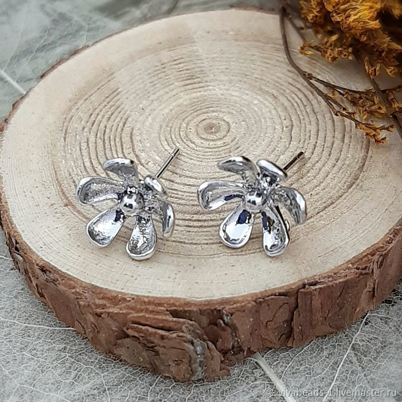 The basis for studs stud earrings Flower 11mm rhodium (3963), Schwenzy, Voronezh,  Фото №1