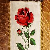 Vintage interior handmade. Livemaster - original item Vintage tapestry the bell-rope (hand embroidery) Germany. Handmade.