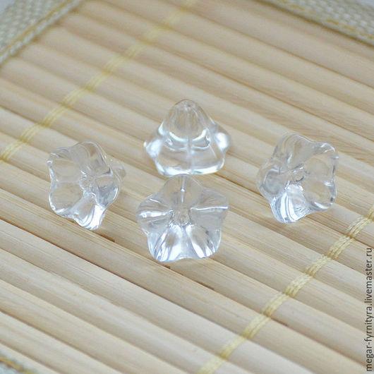 Для украшений ручной работы. Ярмарка Мастеров - ручная работа. Купить Стеклянный цветок 12 х 10 Ледяной. Handmade.