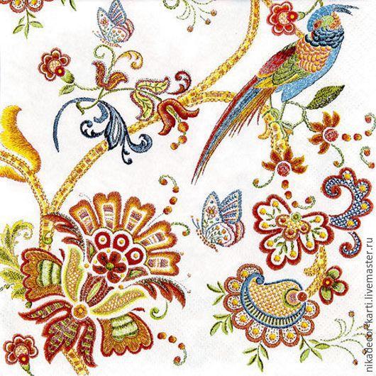 Декупаж и роспись ручной работы. Ярмарка Мастеров - ручная работа. Купить Цветы вышивка (211611) - салфетка для декупажа. Handmade. Разноцветный
