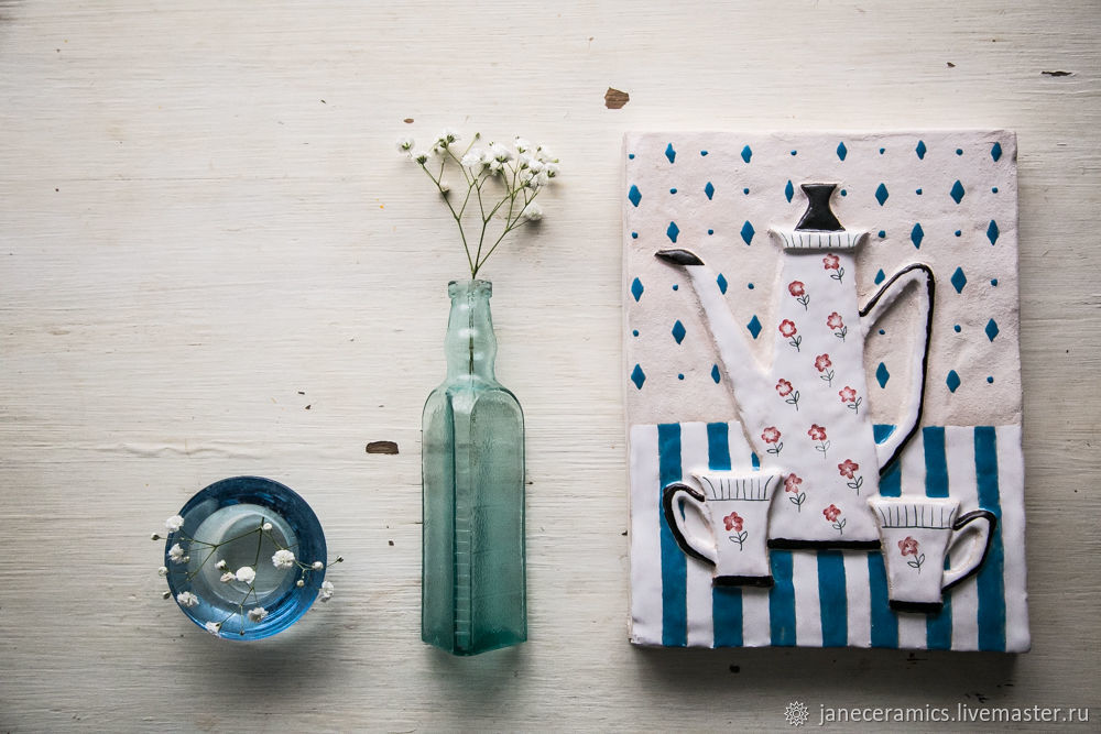 Fun tea party. The tile with the suspension, ceramics, Pictures, Zhukovsky,  Фото №1
