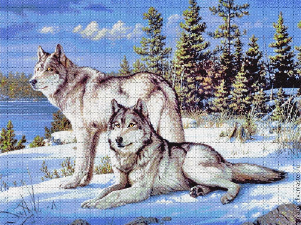 Вышивка бисером волков набор
