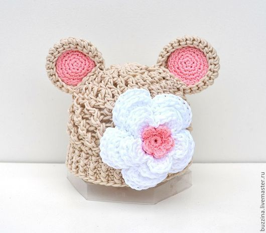 Для новорожденных, ручной работы. Ярмарка Мастеров - ручная работа. Купить Шапочка Мишка для фотосессий новорождённых бежевая с цветком. Handmade.