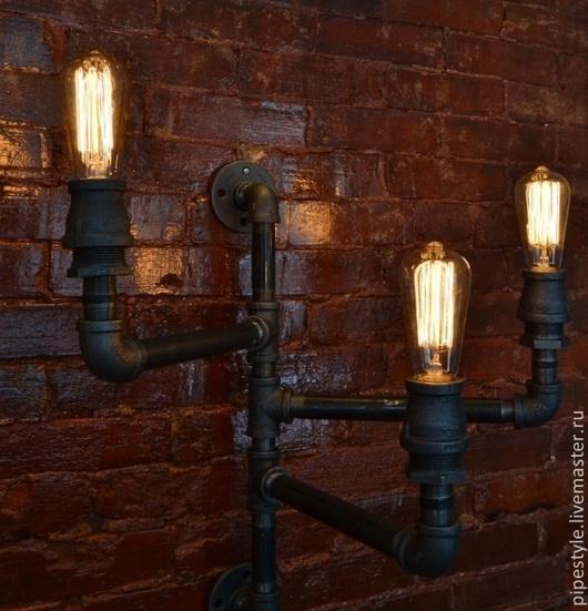 Освещение ручной работы. Ярмарка Мастеров - ручная работа. Купить Светильник настенный трехрожковый Лофт. Handmade. Лофт, из труб, освещение