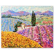 Картины и панно handmade. Livemaster - original item The picture Lavender fields. Tuscany. Mountains Lavender Sunflowers. Handmade.